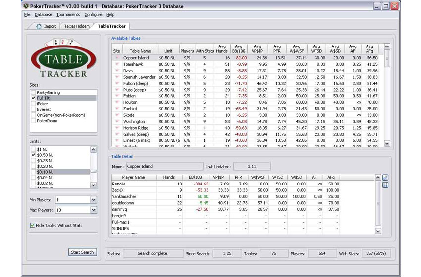 Table Selector Poker Tracker 3