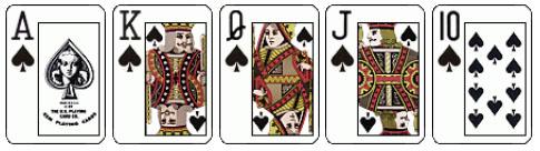 Комбинация Ройял Стрит Флеш в покере