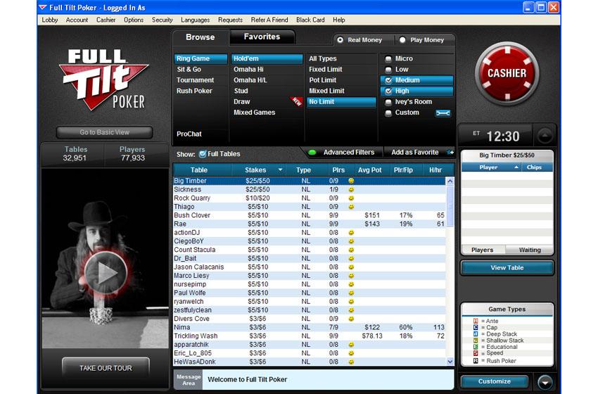 Стол Full Tilt Poker